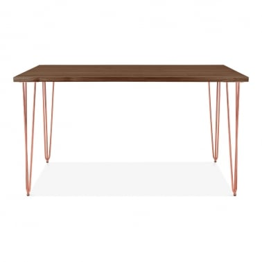 Hairpin Rectangular Dining Table, Solid Elm Wood Top, Copper 140cm