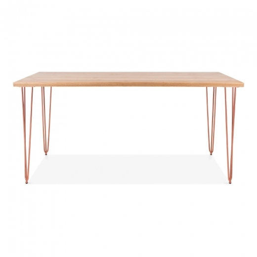 Cult Living Hairpin Rectangular Dining Table, Solid Elm Wood Top, Copper 154cm
