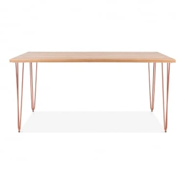 Hairpin Rectangular Dining Table, Solid Elm Wood Top, Copper 154cm