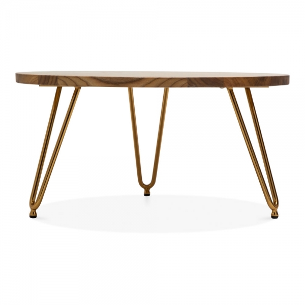 Round Wood Hairpin Coffee Table: Cult Living Brass 71cm Hairpin Coffee Table