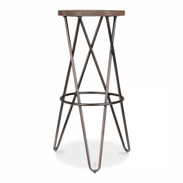 Hairpin Stool with Crossed Leg - Rustic 75cm