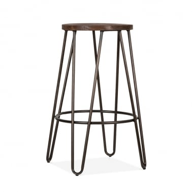 Hairpin Stool with Dark Brown Wood Seat - Gunmetal 66cm