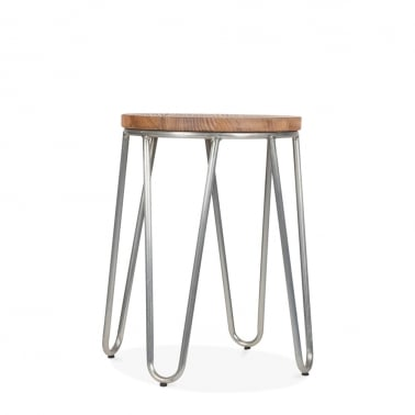 Hairpin Stool with Natural Wood Seat - Galvanised 46cm
