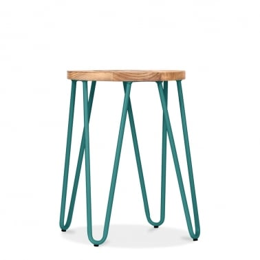 Hairpin Stool with Natural Wood Seat - Teal 46cm