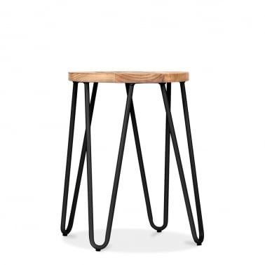 Hairpin Stool with Wood Seat Option - Black 46cm