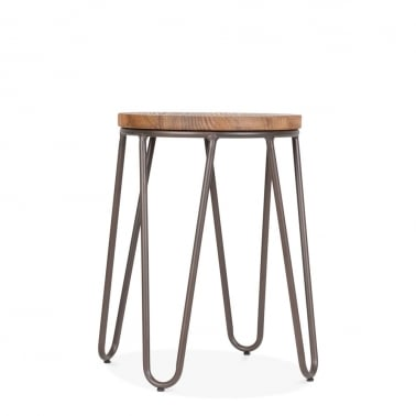 Hairpin Stool with Wood Seat Option - Rustic 46cm