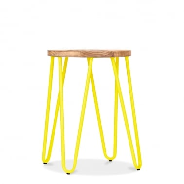 Hairpin Stool - Yellow with Natural Elm Wood Seat 46cm