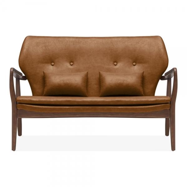 Awe Inspiring Cult Living Hampton Loveseat Small Sofa Faux Leather Upholstered Tan Inzonedesignstudio Interior Chair Design Inzonedesignstudiocom