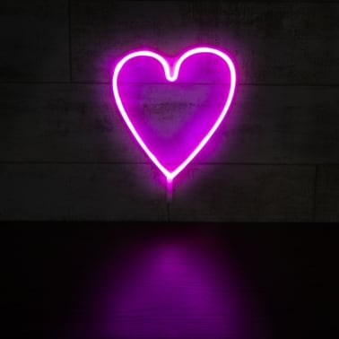 Heart LED Neon Wall Light, Pink