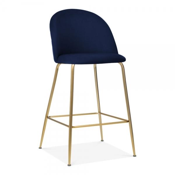 Super Cult Studio Heather Bar Stool With Backrest Velvet Upholstered Royal Blue 65Cm Machost Co Dining Chair Design Ideas Machostcouk