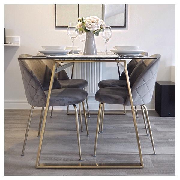 Grey Velvet Upholstered Heather Dining, Velvet Dining Room Chairs
