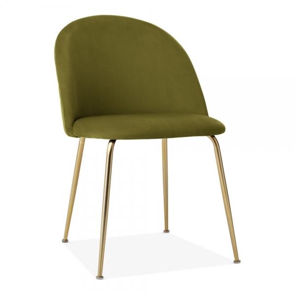 Cult Studio Heather Dining Chair, Velvet Upholstered, Olive Green