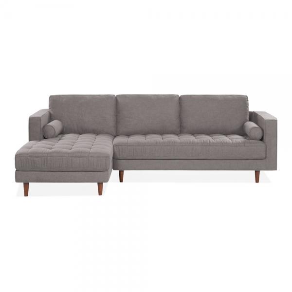 Prime Hepburn Left Hand Chaise Sofa Fabric Upholstered Light Grey Short Links Chair Design For Home Short Linksinfo