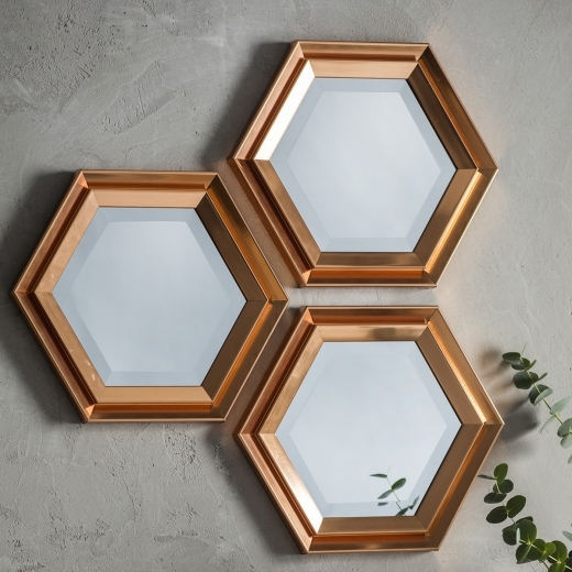 Hexa Modern Set of 3 Scatter Wall Mirrors, Copper