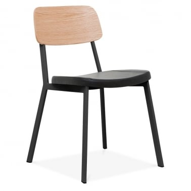 Hipster Chair Black With Black faux Leather Seat