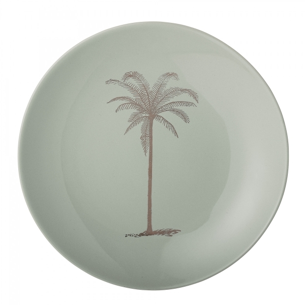Home Features Palm Tree Print Ceramic Dinner Plate Green