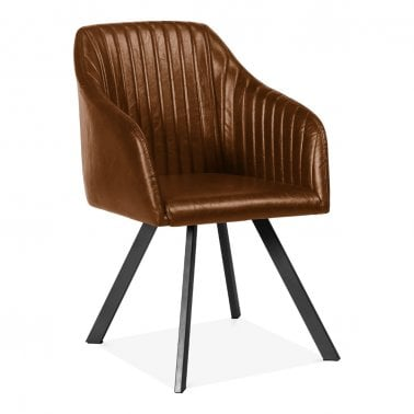 Hunter Dining Armchair, Faux Leather Upholstered, Tan