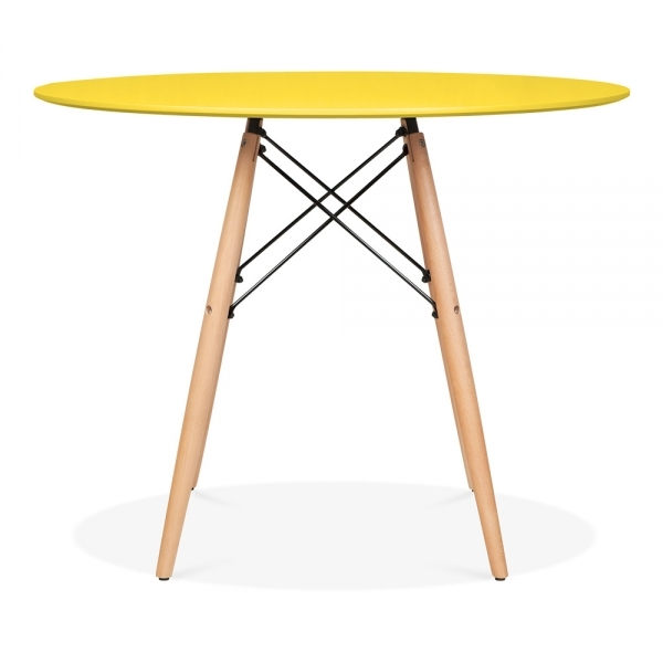 Merveilleux Iconic Designs DSW Style Dining Round Table, Yellow 90cm