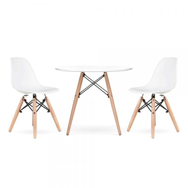 Phenomenal Dsw Style Kids Dining Set 1 Table 2 Chairs White Bralicious Painted Fabric Chair Ideas Braliciousco