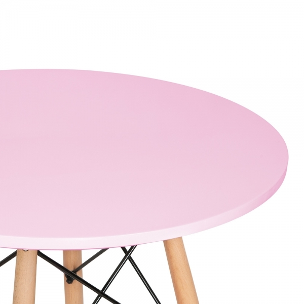 Pink Round Table.Iconic Designs Dsw Style Round Dining Table Pastel Pink 70cm