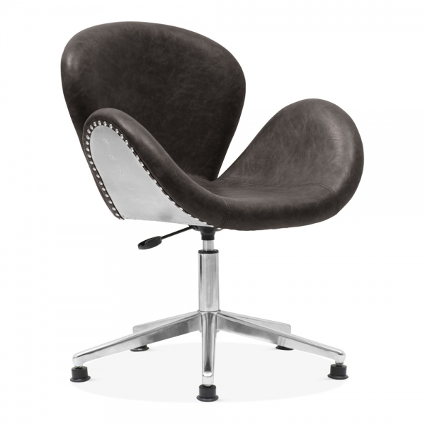 Fine Ida Aviator Swan Chair Faux Leather Upholstered Dark Grey Beatyapartments Chair Design Images Beatyapartmentscom