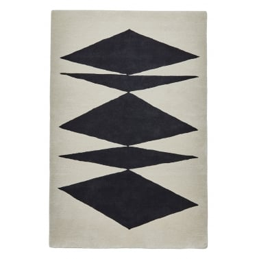 Inaluxe Crystal Palace Hand Tufted Floor Rug, Black and Cream