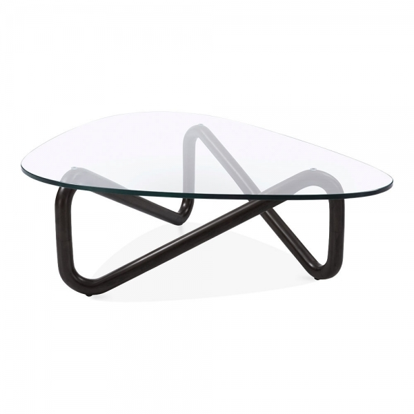 Black Infinity Glass Top Coffee Table Living Room Furniture