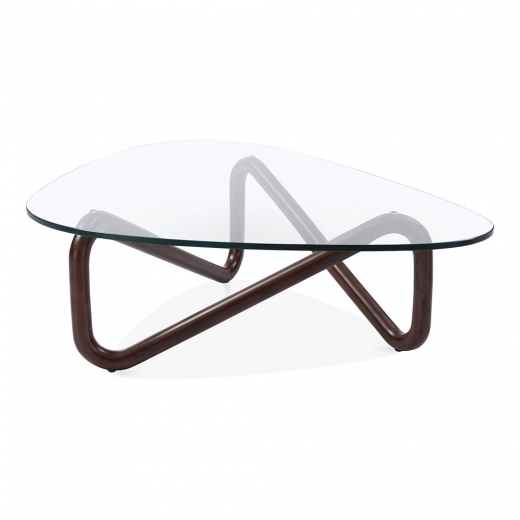 Cult Living Infinity Glass Top Coffee Table, Solid Beech Wood, Walnut Finish