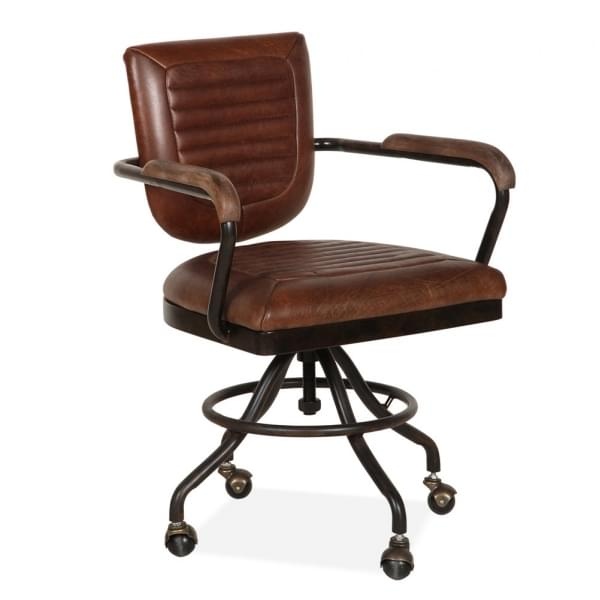 Pleasant Jax Office Chair Premium Leather Upholstered Vintage Brown Interior Design Ideas Inesswwsoteloinfo