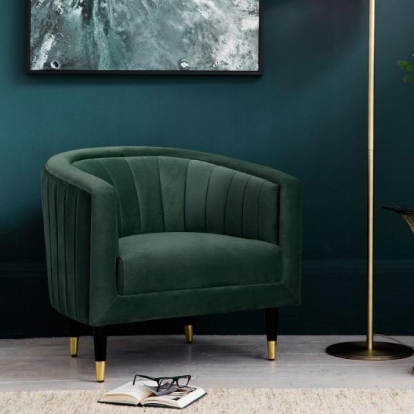 Juno Art Deco Forest Green Velvet Armchair   Upholstered ...