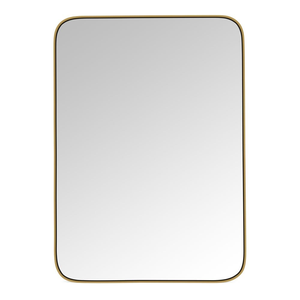 Katja Rounded Rectangle Brass Framed Mirror Modern Wall Mirrors