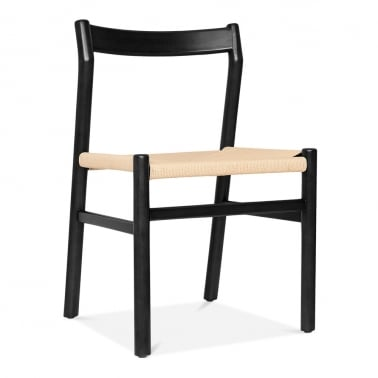 Knightsbridge Wooden Dining Chair - Black / Natural Seat