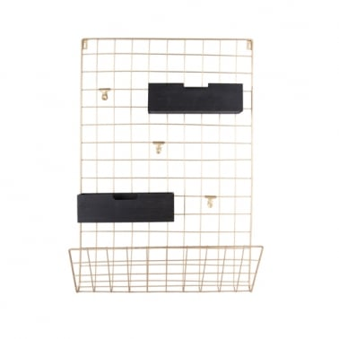Large Wall Mounted Grid Memo Rack, Gold