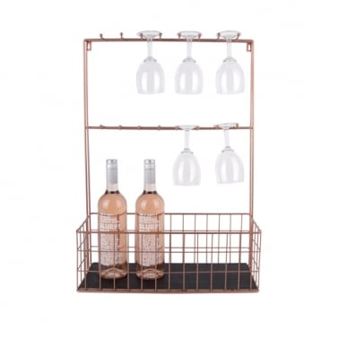 Large Wall Mounted Kitchen Shelf with Hooks, Copper