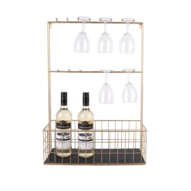 Large Wall Mounted Kitchen Shelf with Hooks, Gold