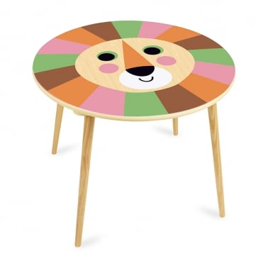 Larry Lion Kids Wooden Table, Natural