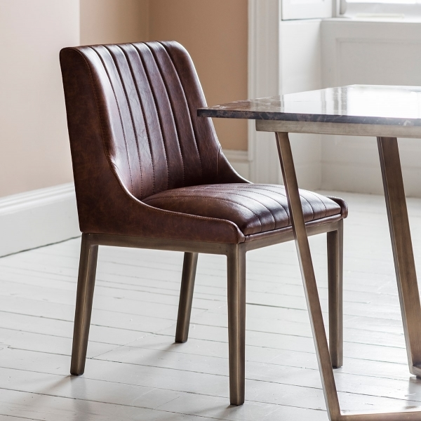 buy popular a1a55 16dd9 Lenox Dining Chair, Faux Leather Upholstered, Set of 2, Brown