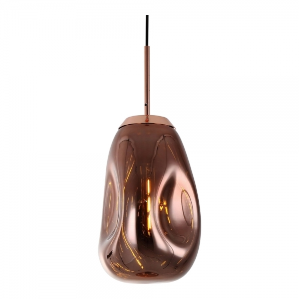 Rose Gold Effect Blown Glass Long Pendant Lamp Ceiling