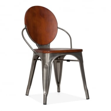 Louis Dining Chair With Wood Seat Option - Gunmetal
