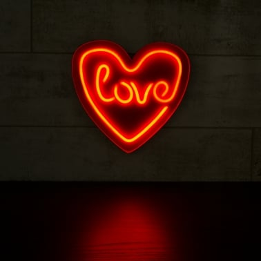 Love Heart LED Neon Sign Wall Light, Red
