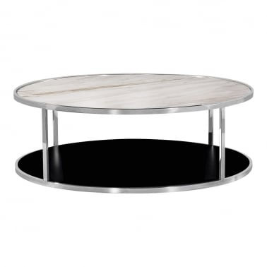 Luxor Round Coffee Table, White Marble Top, Chrome