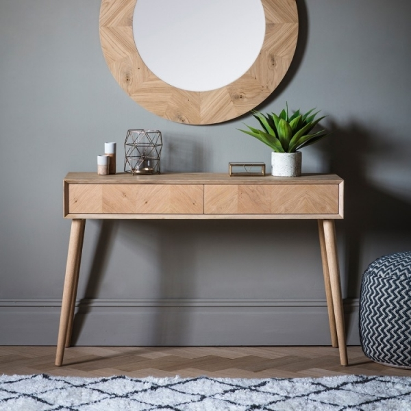 Lysia Solid Oak 2 Drawer Console Table