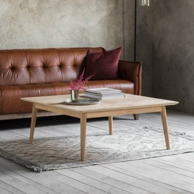 Lysia Square Coffee Table Solid Oak Wood Natural