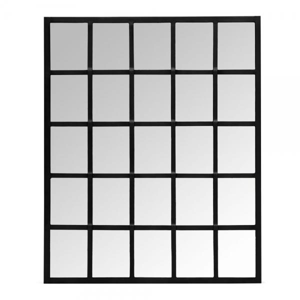 Mace Metal Window Frame Wall Mirror Black