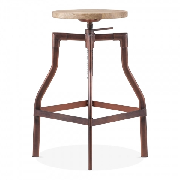 Super Industrial Swivel Adjustable Bar Stool Vintage Copper 62 82Cm Alphanode Cool Chair Designs And Ideas Alphanodeonline