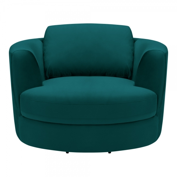 Teal Velvet Magnolia Swivel Armchair   Modern Swivel Chairs