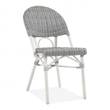 Maida Outdoor Rattan Bistro Chair, Grey and White