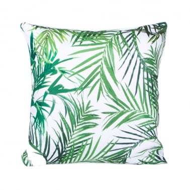 Palm Print Fabric Cushion, White and Green