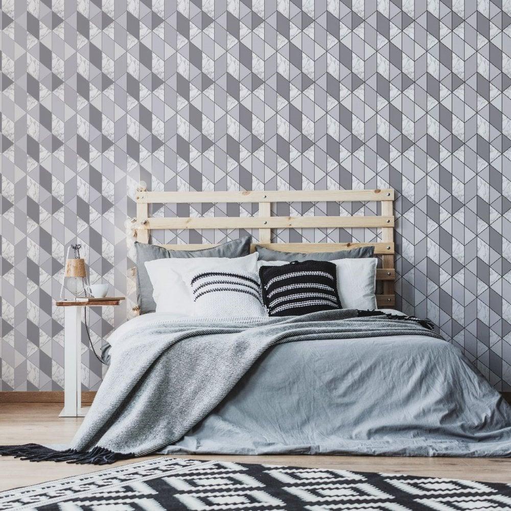 Grey Geometric Triangle Marble Wallpaper Modern Wallpaper