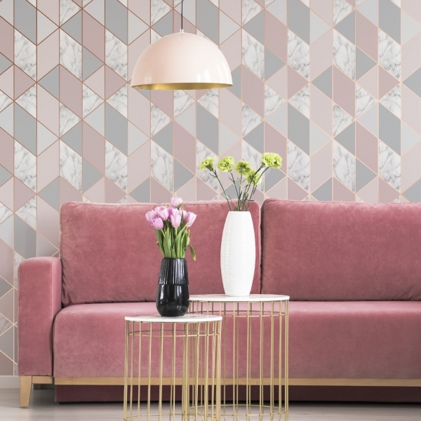 Marble Geometric Triangle Wallpaper Pink And Grey